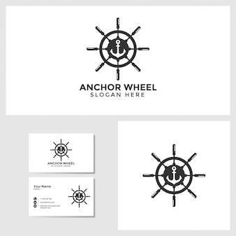 Шаблон логотипа якорного колеса с макетом дизайна визитной карточки