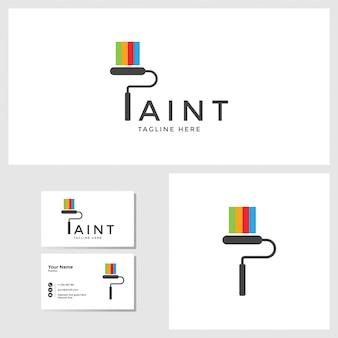 名刺デザインモックアップとペイントのロゴのテンプレート