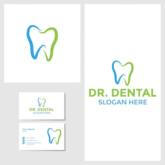 名刺モックアップと歯科のロゴデザインのインスピレーション