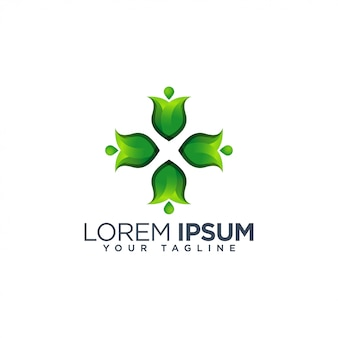 Зеленый цветочный шаблон логотипа