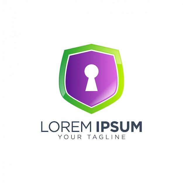 Шаблон логотипа блокировка щита