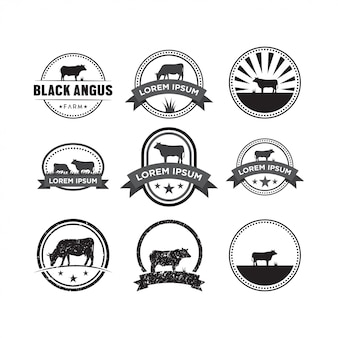 牛ロゴデザインのテンプレートベクトルのセット