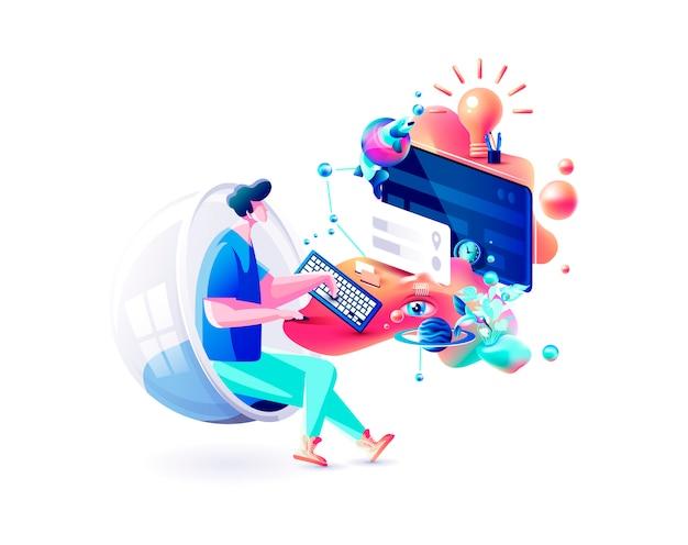 エクストリームカラフルなイラスト男ゲーマーマネージャー離れたリモート作業インターネットマーケティング担当者デザイナーフリーランサー座っているコンピューターサイバーパワー流体テレワークウェブデザインビジネス
