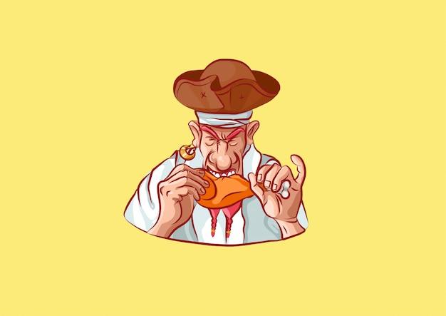 Мультипликационный персонаж голодный пират ест курицу
