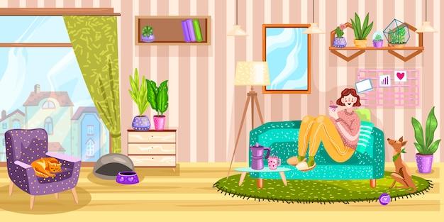 Интерьер с девушкой, сидя на диване, ковер, зеркало, собака, кошка, окно и кресло.
