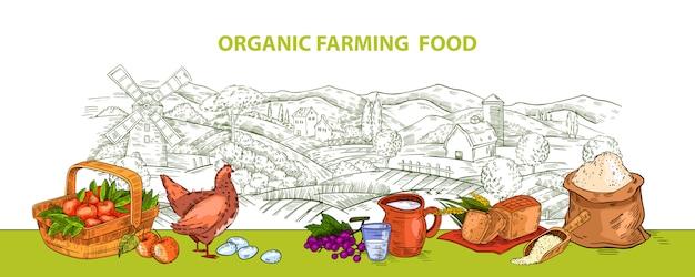 Фон с горизонтальной сельской местности, корзина, яйца, цыплята, яблоки, хлеб и мука.