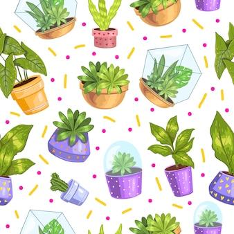 多肉植物とサボテンのシームレスパターン
