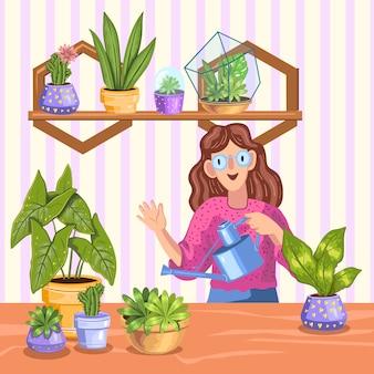 じょうろを持つ若い女性は、ポットやフローラリウムの植物、多肉植物、サボテンの世話をすることができます。