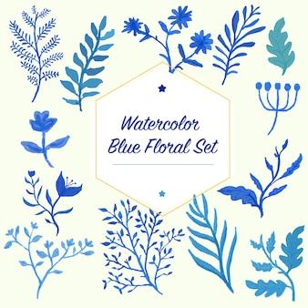 装飾のデザインとパターンのための水の色の青い花の葉