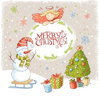 Рождественская и новогодняя открытка с текстом в