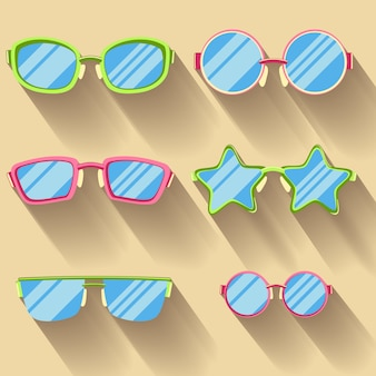Набор цветных плоских очков с длинными тенями. звездочки круглые,