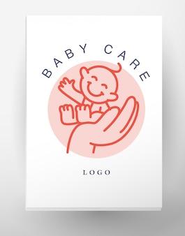 Простая плоская детская эмблема человеческий символ. значок детей, животных символов. плоская простая карта, плакат, реклама, баннер коллекции. рука держит улыбающегося ребенка