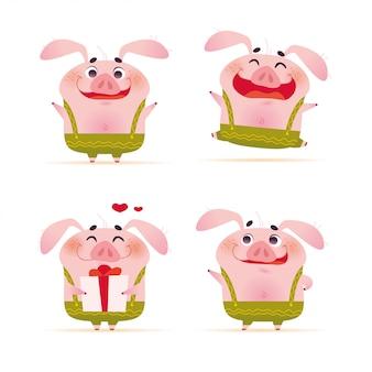 孤立した立っているフラットな漫画のスタイルで緑のズボンでかわいい笑顔の小さな豚キャラクターの肖像画のコレクション