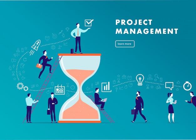 フラットなミニマルなビジネスイラスト-プロジェクト管理、チームワーク、時間管理、ビジネスコミュニケーション、ワークフロー。