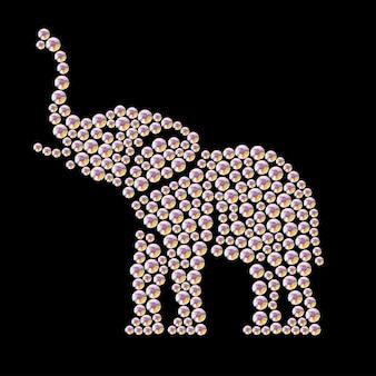 黒の背景に分離されたラインストーンの宝石で作られた動物の肖像画。動物のロゴ、アフリカの動物アイコン。ジュエリーパターン、ハンドメイド商品。輝くパターン。動物のシルエット、象のスタンド。
