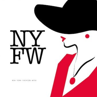 レディスタイル。帽子の肖像画、イラストの女性。