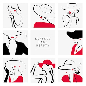 レディスタイル。帽子の肖像画コレクション、イラストの女性。
