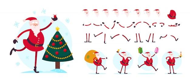 Создатель персонажей санта-клауса - разные позы, жесты, эмоции, элементы праздника