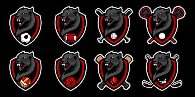 スポーツチームのマスコットのロゴの黒豹頭マスコットロゴのセット。