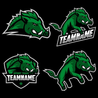 スポーツチームマスコットロゴの野生の豚マスコットロゴのセット。