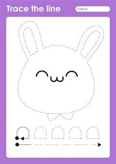 Кролик - таблица дошкольных работ по трассировке линий для детей для отработки мелкой моторики
