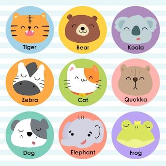 Симпатичные животные лица мультфильм векторные иллюстрации значок