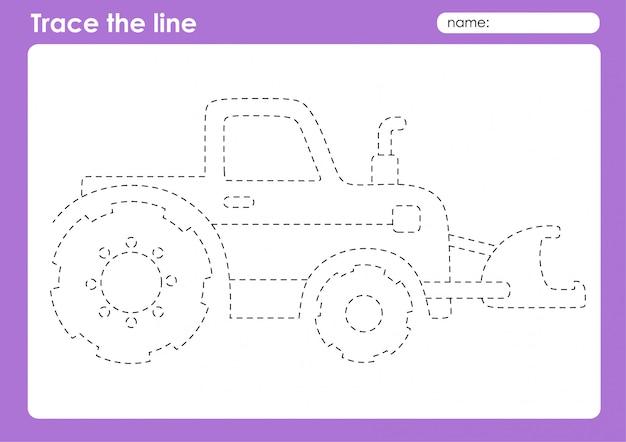 年生-輸送追跡ライン子供のための就学前ワークシート