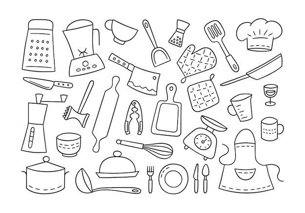 キッチンツールと食器。クック。手で書いた。