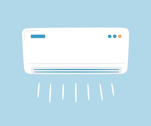 白いエアコン。気候制御の概念。手で書いた