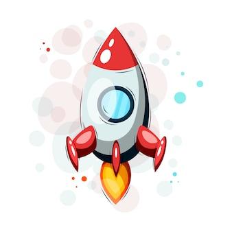 Мультипликационная ракета, нарисованная от руки, для футболок и других целей.