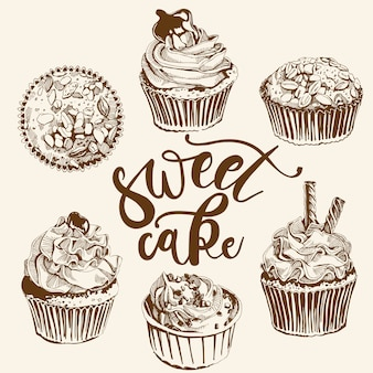 ビンテージケーキとお菓子のティータイムセット。