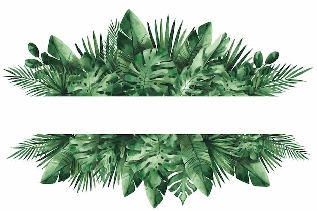熱帯の葉、モンステラ、バナナの葉、イラストと結婚式の招待カードテンプレート。