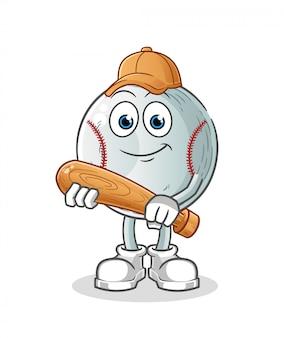 Бейсбол талисман мультипликационный персонаж с бейсбольной битой