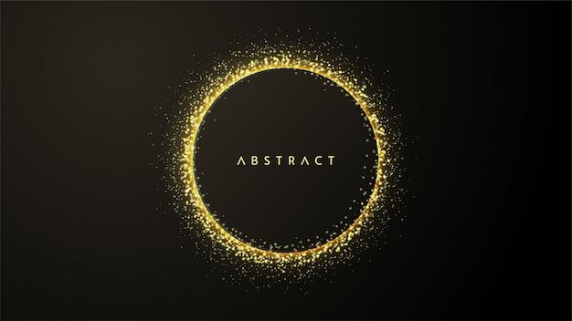 黒の背景に光の円形水しぶきのイラストと抽象的な背景。