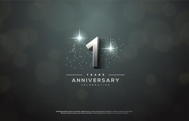 銀の数字で記念日のお祝い。