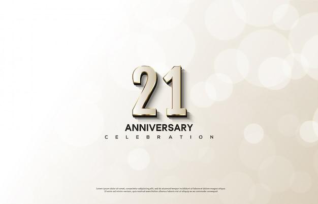 Празднование годовщины с белым номером с элегантными золотыми линиями.