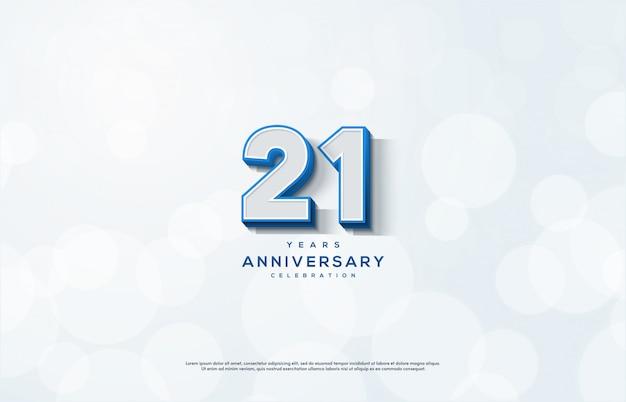 Празднование годовщины с белыми цифрами с синей линией.