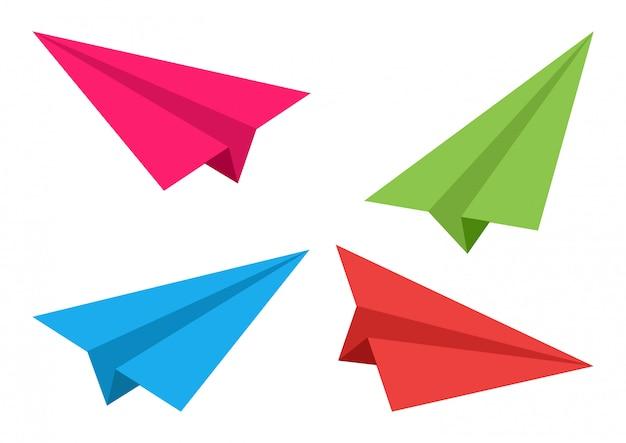 カラフルな飛行機。紙折り紙。