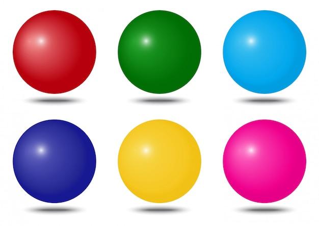 Набор красочных сфер с тенью. иллюстрация