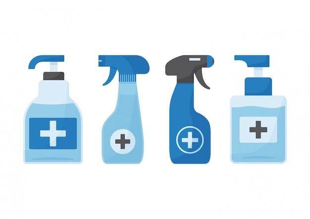 消毒。手の消毒剤ボトルのセット。図