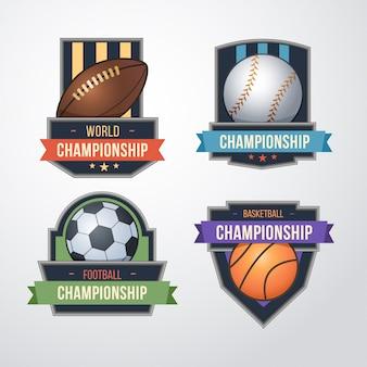 スポーツのロゴを設定します。野球、サッカー、バスケットボールのバッジのロゴのデザインテンプレート。