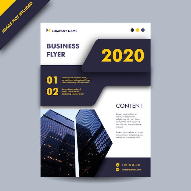 黒と黄色の年次報告書またはビジネスチラシテンプレート