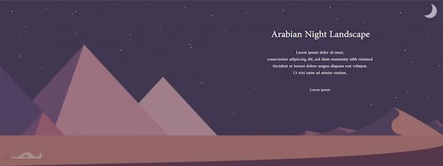 砂漠の風景フラットイラストでの夜