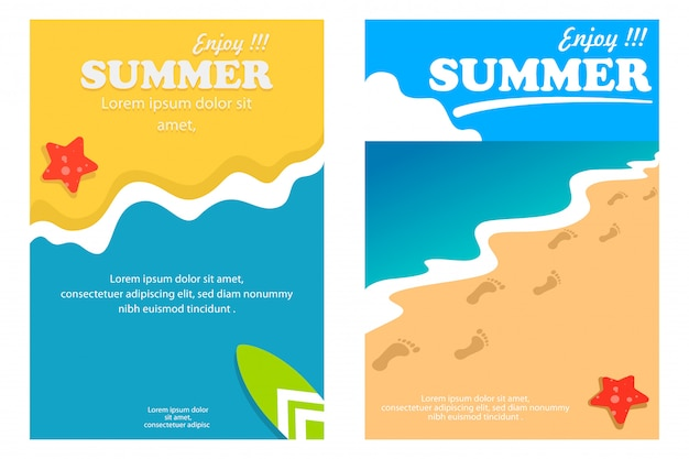 Шаблон летний плакат и баннер с фоном пляжа