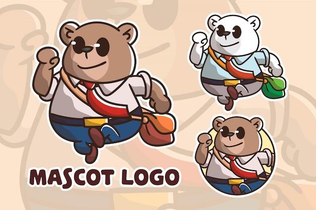 かわいいオフィスクママスコットロゴのセット