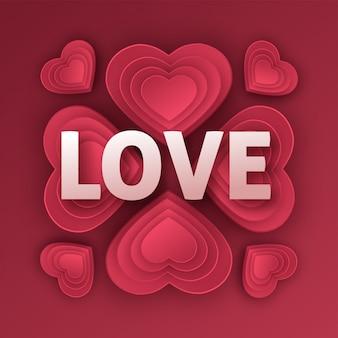 Счастливая поздравительная открытка дня святого валентина. бумажное искусство, любовь и свадьба. красные бумажные сердечки в стиле оригами. иллюстрация