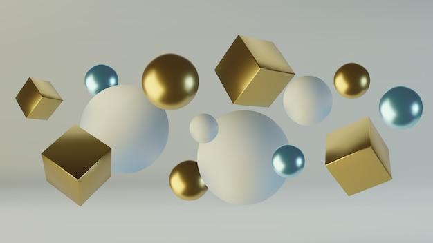 現実的な原始幾何図形の球と立方体
