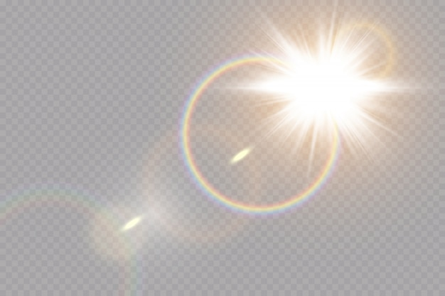 Свечение световой эффект. звездообразование с блестками на прозрачном фоне. солнце.