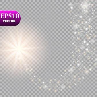 Яркая комета. падающая звезда. свечение световой эффект. иллюстрация