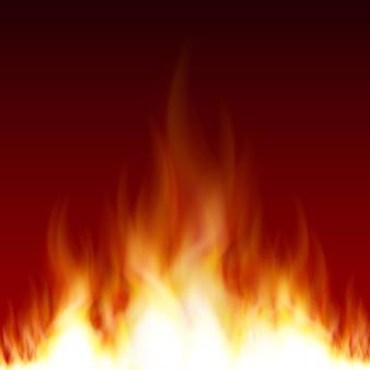 市松模様の背景に分離された透明性を持つ明るい現実的な火炎のセットです。デザインと装飾のための特別な光効果コレクション